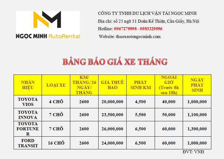 Bảng giá cho thuê xe du lịch theo tháng giá rẻ Ngọc Minh
