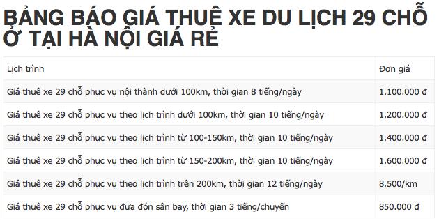 Địa chỉ nào cho thuê xe du lịch 29 chỗ giá tốt tại Hà Nội?
