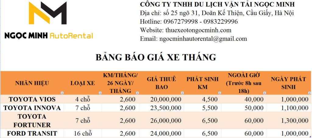 Bảng giá cho thuê xe theo tháng Ngọc Minh