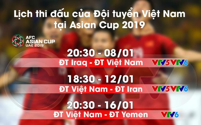 Lịch thi đấu của đội tuyển Việt Nam tại Asian Cup 2019