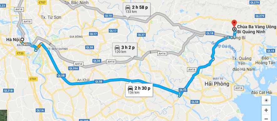 Lộ trình cho thuê xe đi chùa Ba Vàng từ Hà Nội