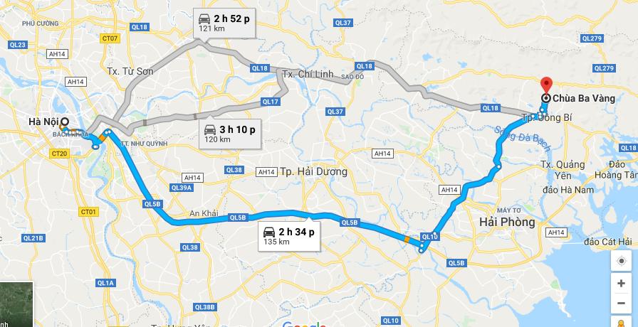 Lộ trình thuê xe đi chùa Ba Vàng